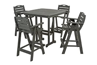 POLYWOOD Nautical 5 Piece Bar Set with Table and Chairs