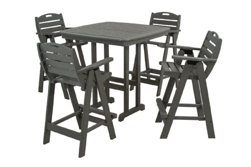 Hot Sale POLYWOOD PWS144-1-GY Nautical 5-Piece Bar Set with Table and Chair, Slate Grey