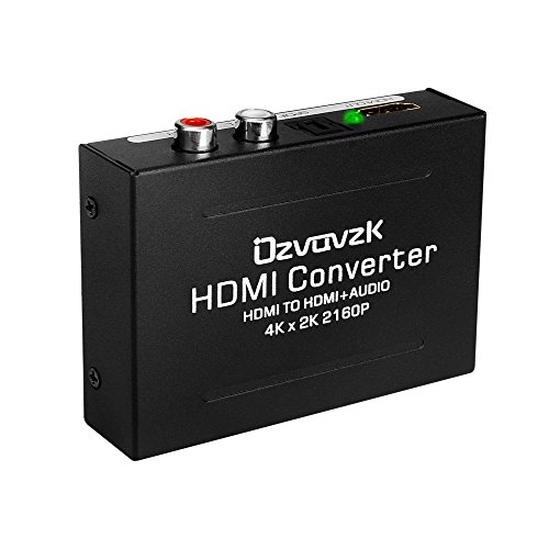 HDMI Audio Extractor Converter,Ozvavzk 4K HDMI to HDMI + SPDIF(Optical/Toslink) + RCA(L/R) Stereo Analog Outputs Video Audio Converter for Ruku,Chromecast,Blu-ray Player,Cable Box,Fire TV,Apple TV,etc