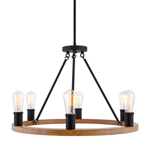"Kira Home Jericho 25"" 6-Light Large Rustic Farmhouse Wagon Wheel Chandelier, Round Kitchen Island Light, Textured Black Accents + Warm Oak Wood Style Finish"