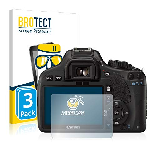 brotect Pellicola Protettiva Vetro Compatibile con Canon EOS 550D (3 Pezzi) Schermo Protezione, Estrema Durezza 9H, Anti-Impronte, AirGlass