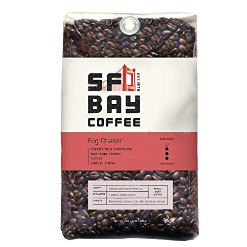 SF Bay Coffee Fog Chaser Whole Bean 2LB (32 Ounce) Medium Dark Roast