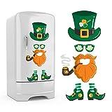 6Pcs St. Patrick's Day Refrigerator Sticker Removable Decorations, Leprechaun Fridge Sticker Irish Party Shamrock Cute Funny Holiday Decor Suitable for Fridge Door Cabinet Wall Window Garage