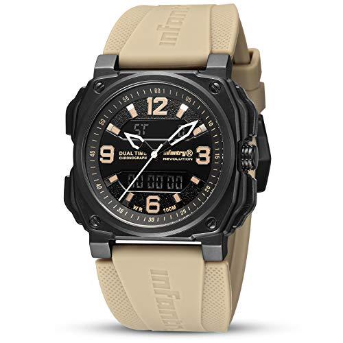 Herren Uhren Outdoor Uhr Armbanduhr Männer Digitaluhr Militäruhr Sport Herrenarmbanduhr Tactical Watch Herrenuhr Beige Kautschuk by Infantry