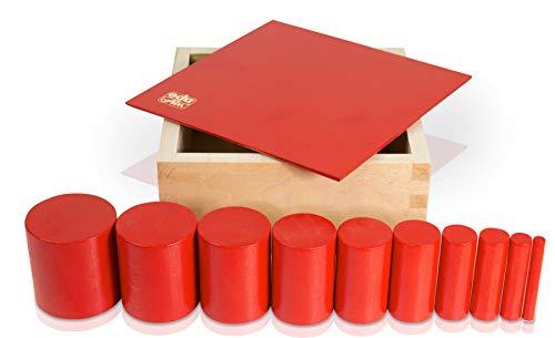 edu fun 91103 Montessori Knobles Cylinder 10 rote Holzzylinder in Holzbox pädagogisches Lernspielzeug ab 3 Jahre Höhe gleichbleibend Durchmesser unterschiedlich Holzspielzeug