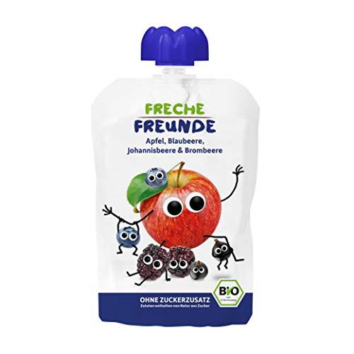 FRECHE FREUNDE Bio Quetschie Apfel, Blaubeere, Johannisbeere & Brombeere, Fruchtmus im Quetschbeutel für Babys ab dem 6. Monat, glutenfrei & vegan, 6-er Pack (6 x 100g)