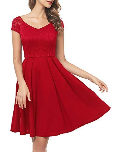 abendkleider elegant für hochzeit Kleid Rot Damen damen knielang cocktailkleid damen abendkleider lang spitzenkleid damen petticoat badeanzug...