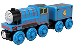 """Thomas & Friends Wood toy train comes with""""tender"""" cargo car and is compatible with redesigned Thomas & Friends Wood track and classic Thomas & Friends Wooden Railway track (sold separately and subject to availability) Made with sustainably-source..."""