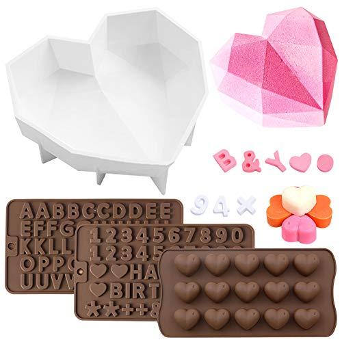 SENHAI 4 paquetes de moldes de silicona para pasteles, Molde de pastel de corazón de diamante Y molde de letras para fondant & Número Molde de Chocolate & Molde para dulces de corazón de 15 cavidades