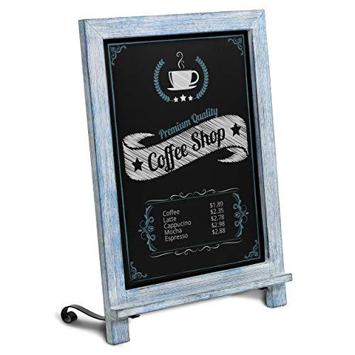 HBCY Creations Rustikale Tischkreidetafel mit Beinen, Vintage-Schild, kleine Küchen-Arbeitsplatte, Memo-Tafel, antiker Holzrahmen, 24,1 x 35,6 cm, 30,5 x 43,2 cm, rustikales Blau