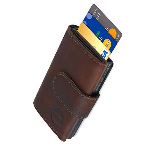 Kreditkartenetui Black Edition | TÜV geprüfter RFID NFC Schutz | Wallet für 10 Karten und Fach für Scheine | Geldbörse aus echtem Rindsleder für Damen und Herren mit gratis Geschenkverpackung