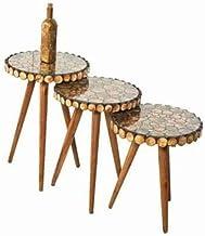 طقم طاولات تقديم و خدمة من اغصان الشجر