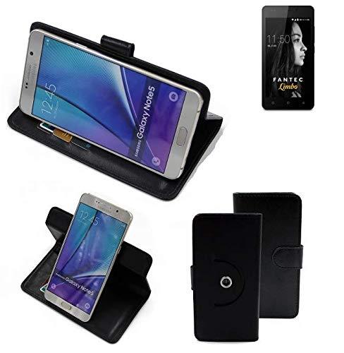 K-S-Trade® Handy Hülle Für FANTEC Limbo Flipcase Smartphone Cover Handy Schutz Bookstyle Schwarz (1x)