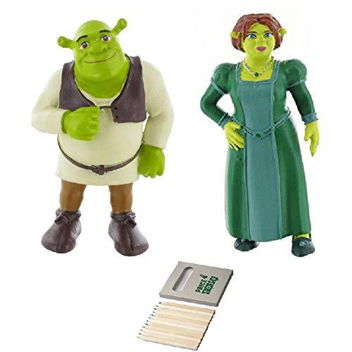 Price Toys Shrek Mini Figura Juguetes - Fiona, Shrek, Burro y el Gato con Botas (Shrek/Fiona)