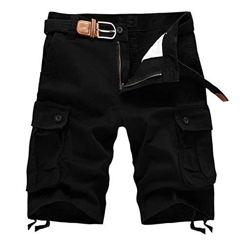 Estate Uomini Baggy Multi Tasca Militare Cargo Shorts Maschio Cotone Kaki Mens Pantaloncini Tattici Pantaloni Corti 29 44 Senza Cintura Nero W30
