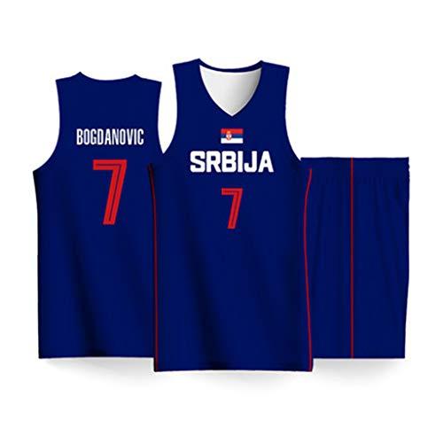 Serbien 7# Bojan Bogdanovic Herren Basketball Basketball Trikot Basketball Anzug Anzug Kinder Nationale Wettbewerb Feuchtigkeit ableitenden Stoff T-Shirt-1-S