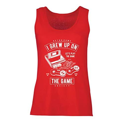 lepni.me Camisetas sin Mangas para Mujer Vamos a Jugar el Juego, Retro Sociedad de Videojuegos (X-Large Rojo Multicolor)