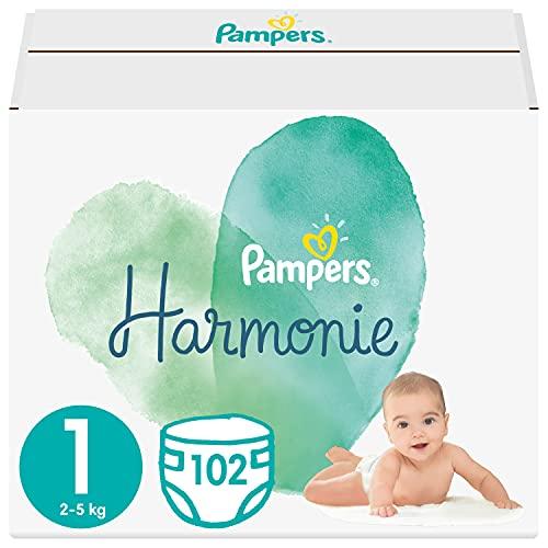 Pampers Maat 1 Harmonie Luiers, 102 Stuks, Beschermt de gevoelige babyhuid, Met plantaardige materialen (2 - 5 kg)