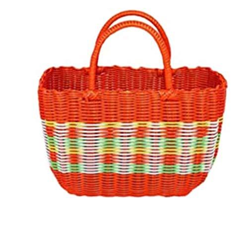 HUAQIGUO Cesta de verduras para compras de plástico tejido cesta portátil de baño para mascotas cesta de baño de compras picnic fruta picking (naranja, mediano)