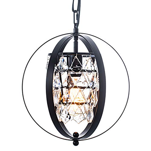 Zhkung Black Vintage Industrial Crystal 1-Light Globe Chandelier Orb Pendant Hanging Ceiling Light Fixture