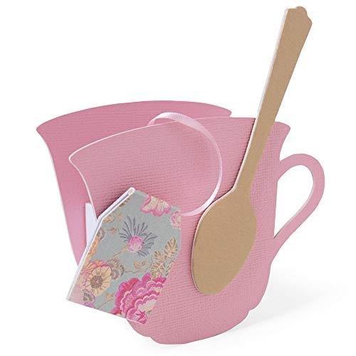 Sizzix ScoreBoards 664797-Tazzina da tè 3-D con Cucchiaio di Eileen Hull Fustelle per Scrapbooking, Cartone, Multicolor, Taglia unica