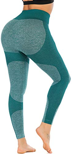 RUNNING GIRL Women Butt Lift Seamless Yoga Leggings High Waisted Tummy Control Workout Leggings Compression Skinny Tights (2334 Green,L)