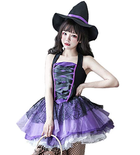 [milky time] 魔女 帽子セット ハロウィン コスプレ ゴスロリ ワンピース セクシー 大人 ミニ丈