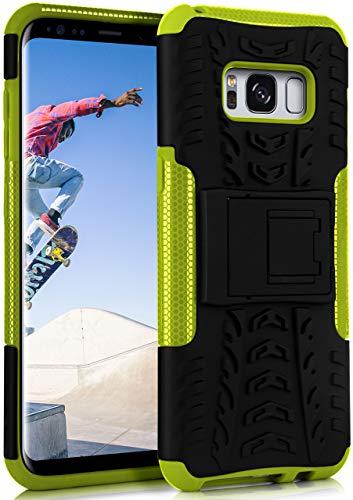 ONEFLOW Tank Hülle kompatibel mit Samsung Galaxy S8 - Hülle Outdoor stoßfest, Handyhülle mit Ständer, Kamera- & Displayschutz, Handy Hardcase Panzerhülle, Lime - Grün