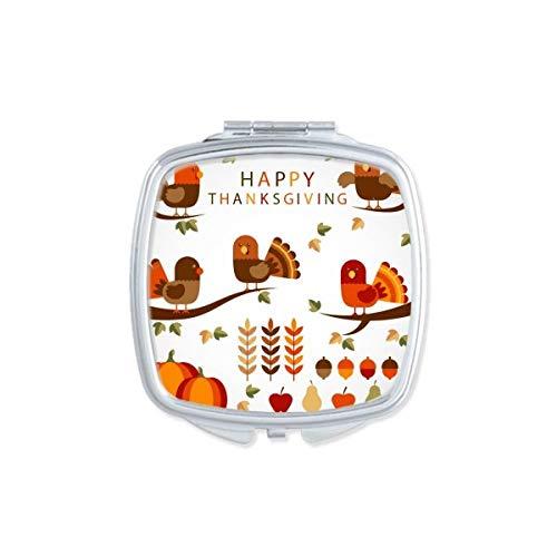 DIYthinker Pumkin Thanksgiving Day Turquie Motif carré Maquillage Compact Miroir de Poche Miroirs Mignon Petit Cadeau Portable à la Main Multicolor
