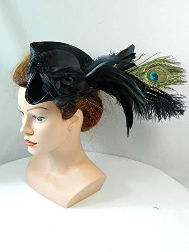 Mini Dreispitz schwarz Marie Antoinette Barock Rokoko Western Headpiece Haarschmuck Dirndl Oktoberfest