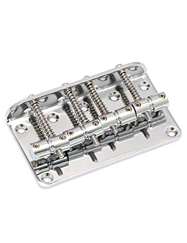 Metallor Hard Tail Fixed Bass Guitar Bridge Compatible with 4 string Jazz Bass or Precision Bass Style Bass Guitar Top Load Chrome.