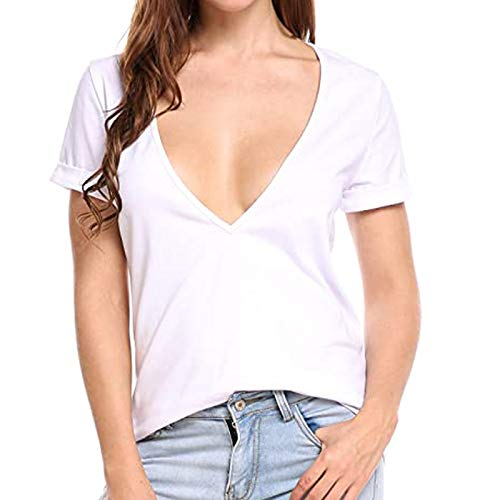 DUIGUN Loose Large Off-Shoulder Drawstring für Damen Lässiges T-Shirt mit kurzen Ärmeln Solid Color Shirts