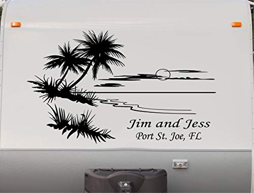 Replacement Camper RV Decals Trailer Palm Tree Beach Cruiser Motor Home Stickers Graphics