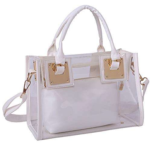 Women Handbag Top Handle Bags PU Leather Shoulder Bag Tote Bag Cross-Body Bag 2 Pcs Set-White
