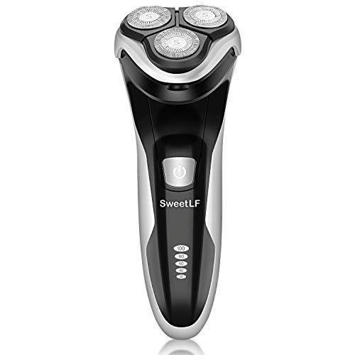 SweetLF SW7105BK - Afeitadora eléctrica para hombre (recargable, USB, resistente al agua, con recortadora Pop-up Barba, 3D, cabezales giratorios y pantalla LCD, color negro)