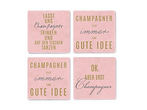 Interluxe 4 Marmor Untersetzer Champagner ist Immer eine Gute Idee Farbe pink und Gold Geschenk