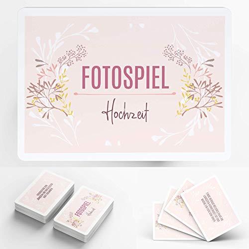 Fotospiel Hochzeit | 50 Fotoaufgaben | Hochzeitsspiel für Gäste zum Kennenlernen | Kombinierbar mit Fotobox