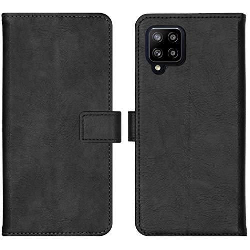 iMoshion kompatibel mit Samsung Galaxy A42 Hülle – Luxuriöse Handyhülle – Handytasche in Schwarz [Mit Ständer, Platz für 3 Karten, Magnetverschluss]