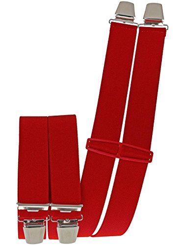 Harrys-Collection Herren Hosenträger 4 Extra Starken Clips uni, Farben:rot
