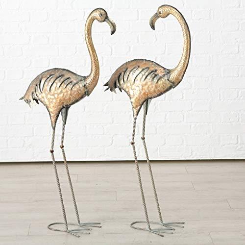 Juego de 2 Figuras Decoración Jardín en Metal Flamencos Pájaros Cobre Altura Surtidos A 113cm
