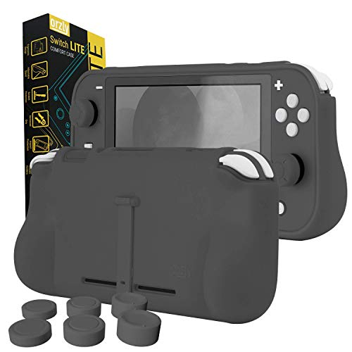 Orzly Grip Case for Nintendo Switch Lite – Case with Comfort Padded Hand Grips, Kickstand, Pack of Thumb Grips - Grey