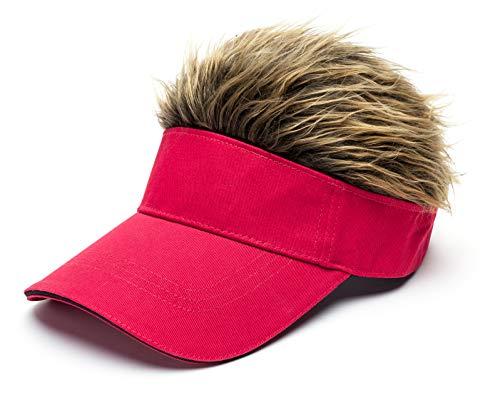 Men's Novelty Flair Spiked Hair Visor Sun Funny Golf Hats Fake Wig Peaked Adjustable Baseball Caps Red Brown