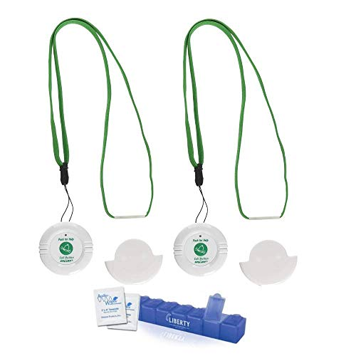 Smart Caregiver Nurse Call Button 2 Pack - Elderly Care Monitor - Wireless Alert Nurse Call Button for Patients to Alert Caregivers - Includes 10 Individual Cleaning Wipes and a Liberty Pill Case