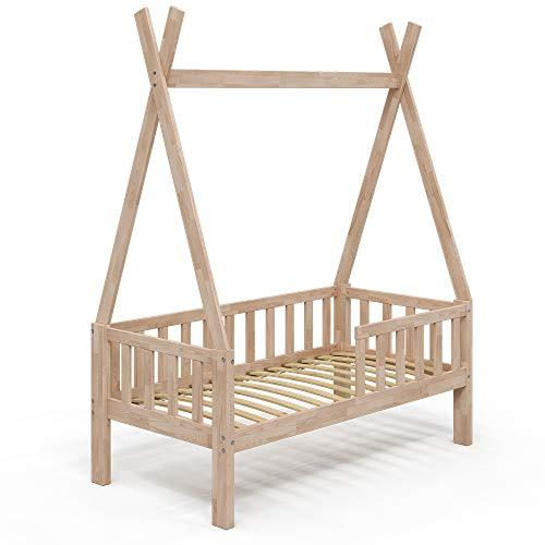 VitaliSpa Kinderbett Tipibett Umbaubett 70x140cm Rausfallschutz Hausbett (Natur, Bett)
