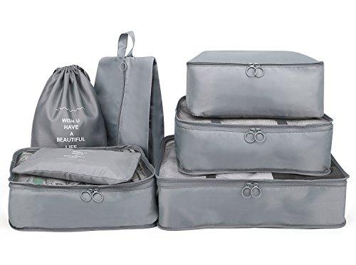 Luxspire custodie da viaggio, 7 pezzi in materiale Vacuum impermeabile per conservare prodotti di abbigliamento, scarpe e bagagli, Borse protettive per attività all'aperto, colore grigio
