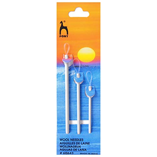 Pony Aluminium Wool Needles for Sewing up Knitting - per pack of 3
