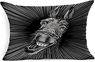 SHISHE Expression Gray Head Drawing Crazy Happiness Donkey Cute Animals Teeth Wildlife Funny Ass Farm Face Happy Mule Rectangle Pillow Covers 16x24 for Living Room Sofa Decor Outdoor