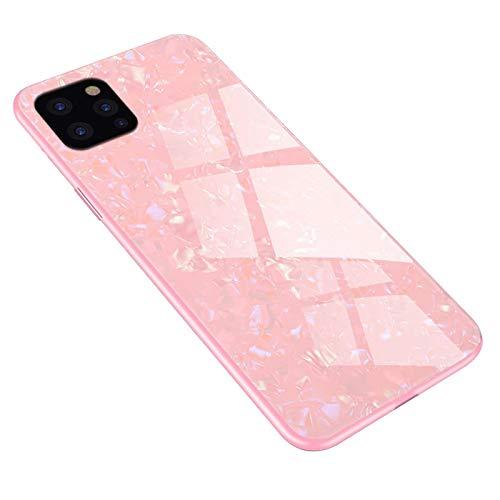 Tcbydl Funda para iPhone 12 Pro Max, de vidrio templado, carcasa de policarbonato con carcasa de TPU, resistente a los arañazos, diseño de mármol, funda antigolpes, para Apple 12 Pro Max (rosa)