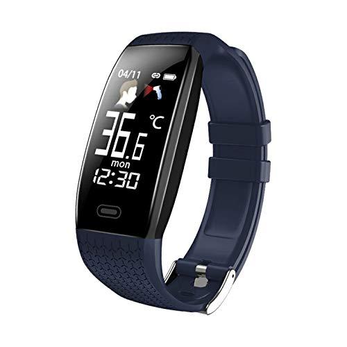 XUEXIU Pulsera Inteligente Pulsera Impermeable Fitness Monitor de Ritmo cardíaco Pulsera Deportiva Reloj Inteligente para teléfono (Color : Blue)