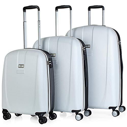JASLEN - Juego de Maletas de Viaje Ligeras 3 Pzs. Set Trolley ABS 4 Ruedas (Cabina + Mediana + Grande) Rígidas y Resistentes. Conjunto Equipaje Avión 56500, Color Blanco-Negro